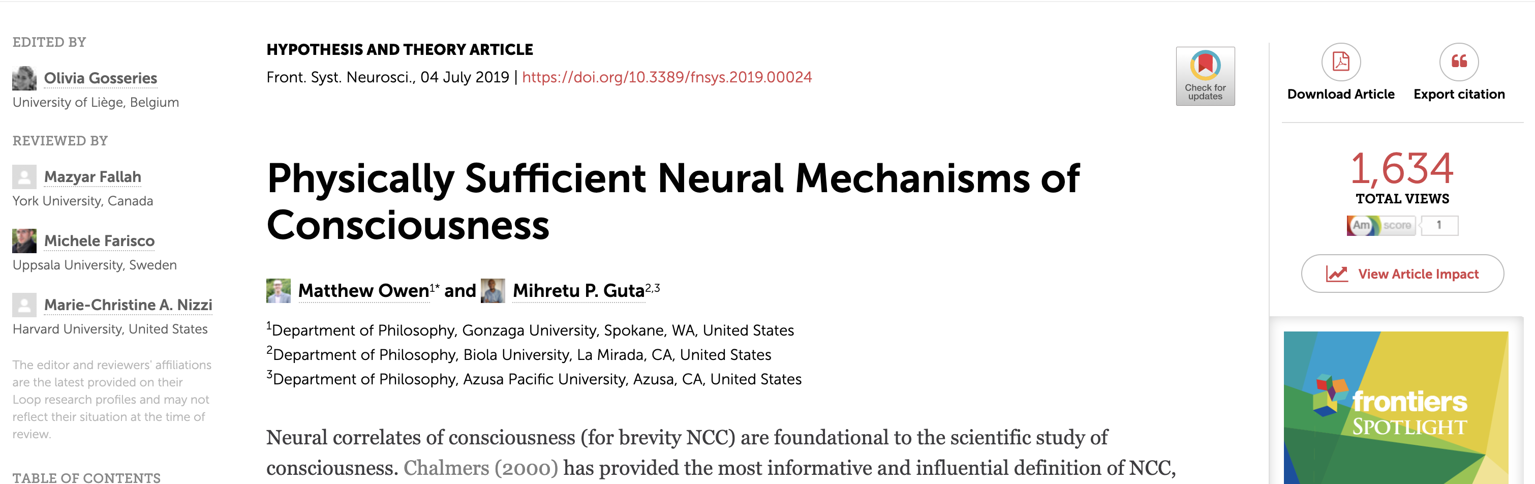 Article in Frontiers in Systems Neuroscience on neural mechanisms of consciousness